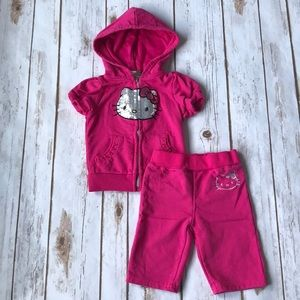 Other - Toddler Girl Short Sleeve Hello Kitty Sweat Suit